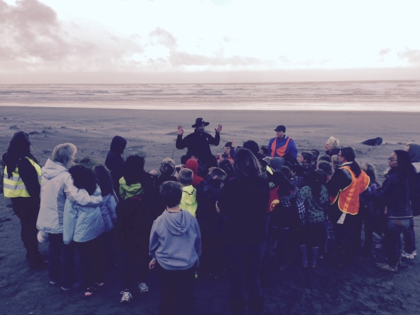 Brian Fowler and local students investigate the beach!